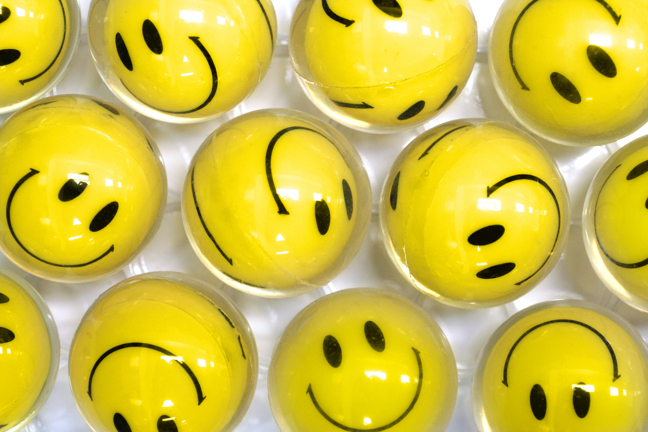 Yellow Balls with Smilely Faces