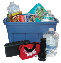 A plastic bin overflowing with emergency supplies.