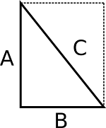 A right triangle depicted as part of a rectangle to show the right angle and the diagonal measurement.